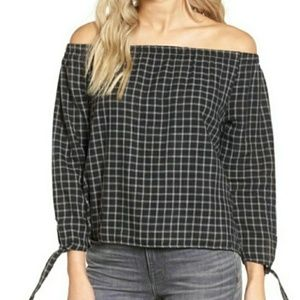 Madewell | 100% Cotton Plaid Off The Shoulder Top